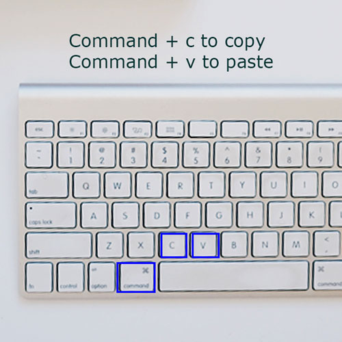 view of the left hand side of the MAC keyboard, the command button, C button and V button are highlighted in blue