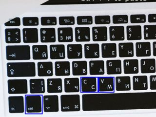 The picture is of a keyboard with the CTRL button, C button, and V button are outlined in blue
