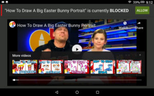 View of the web content to be added to your child's Amazon Fire profile. The Title of a youtube video shows, and next to it says 'is currently blocked'. Next to that is a Green Button that says 'Allow'