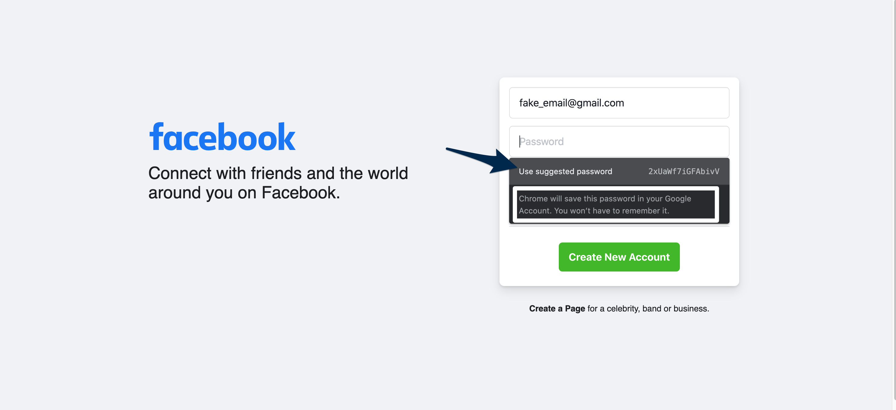 View of the facebook sign in screen. An arrow points at the dropdown menu underneath the password field with the 'Use suggested password' option. Outlined, is text that reads 'Google will save in your Google account.You won't have to remember it.