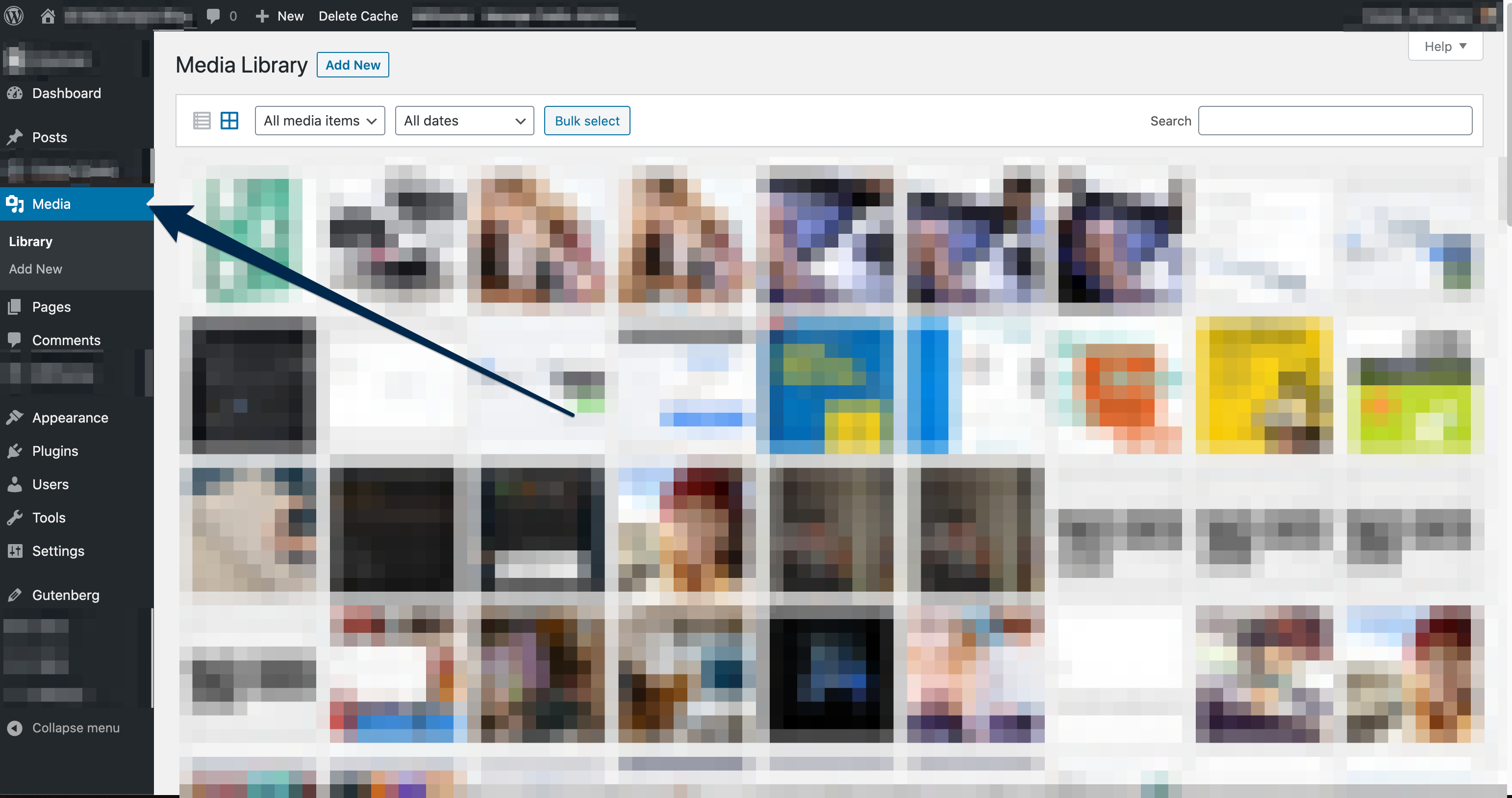 A view inside of the Media Library with an arrow pointed at the Media option in the Main WordPress sidebar to the left