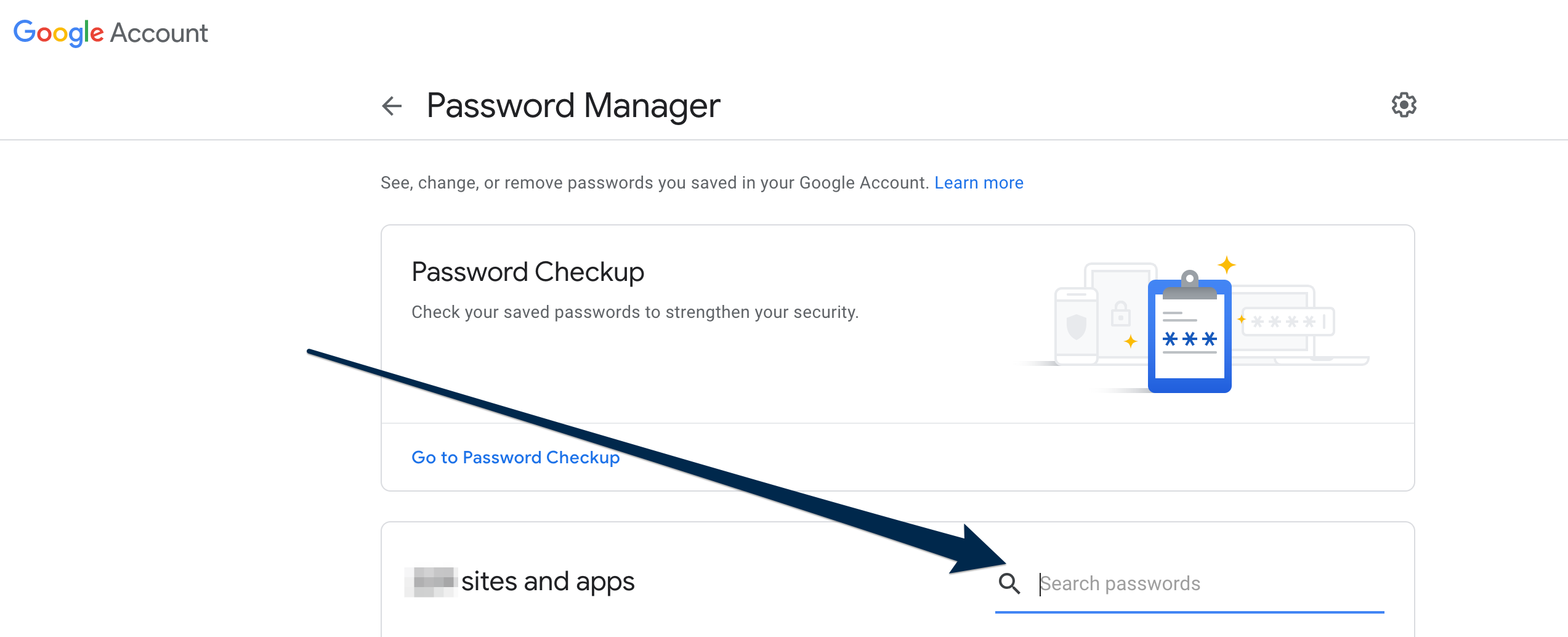 View of the Google Account, Password Manager page with an arrow pointing at the Search Passwords search box