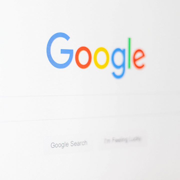 View of the google search site on a computer screen
