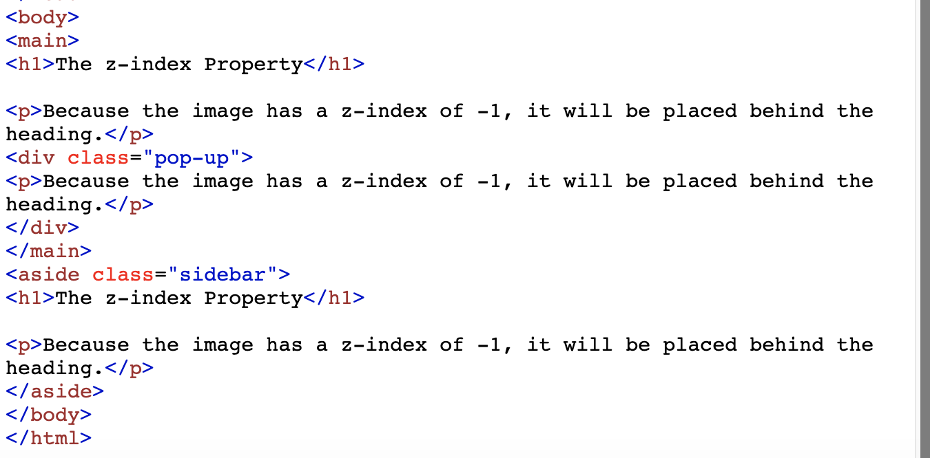 Image of a snippet of HTML code which demonstrates the z-index properties of different elements on the page
