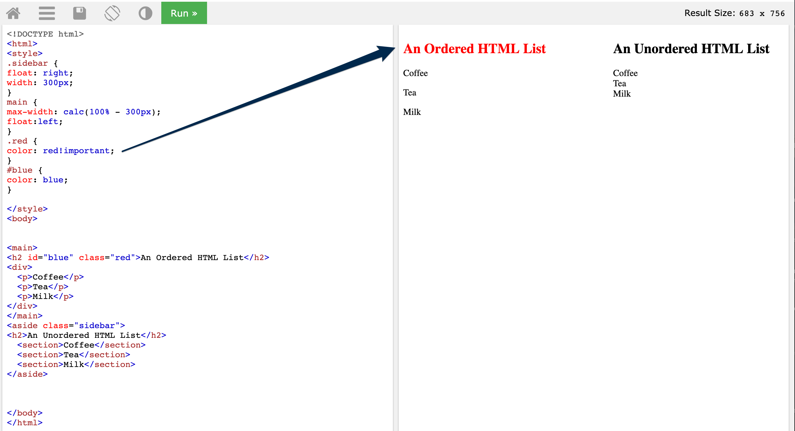 On the right the heading for 'an ordered html list' with a class of red and an id of blue is red and the heading for 'an unordered html list is black'. On the left the style .red is set to color: red!important; then #blue style is set to blue;