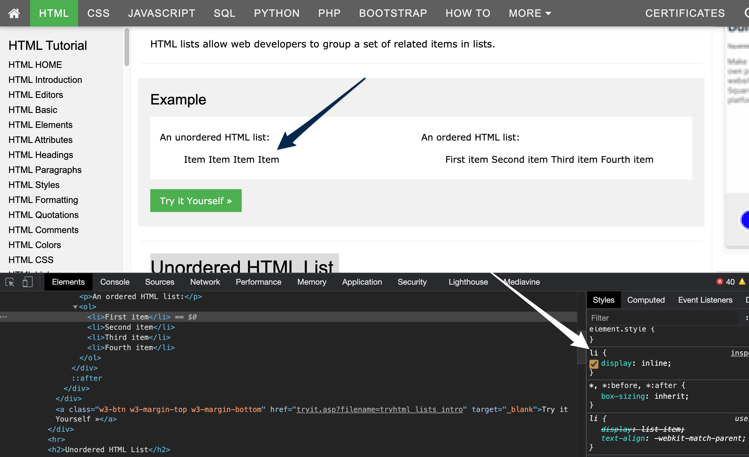 Image showing a style added in Dev Tools to list items that sets their disply property to 'display:inline'. The list items on the website are no longer numbered or have bullet points and instead of being vertical they are now listed side by side horizontally