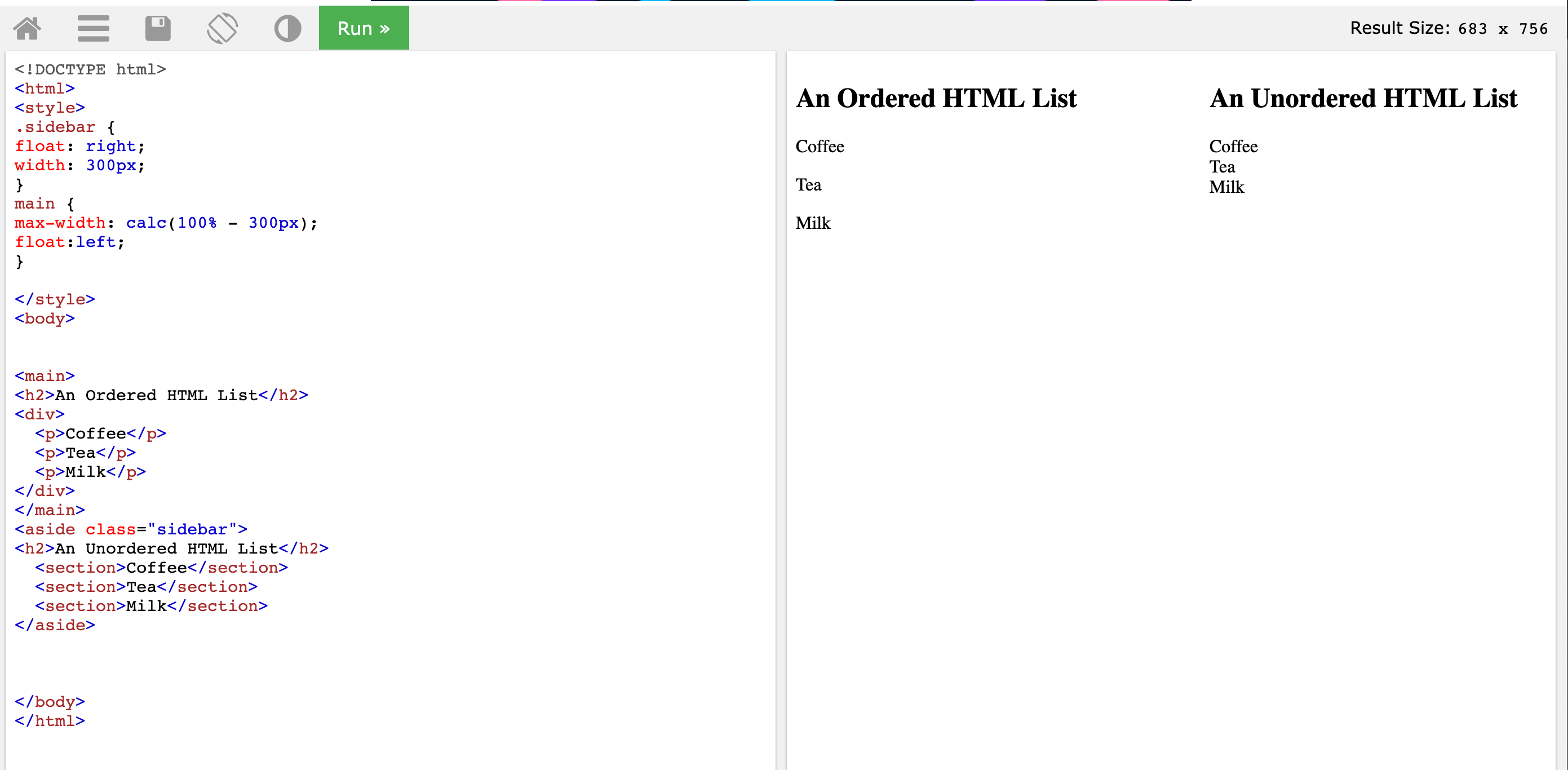On the right the heading for 'an ordered html list' with that is black and the heading for 'an unordered html list is black'.