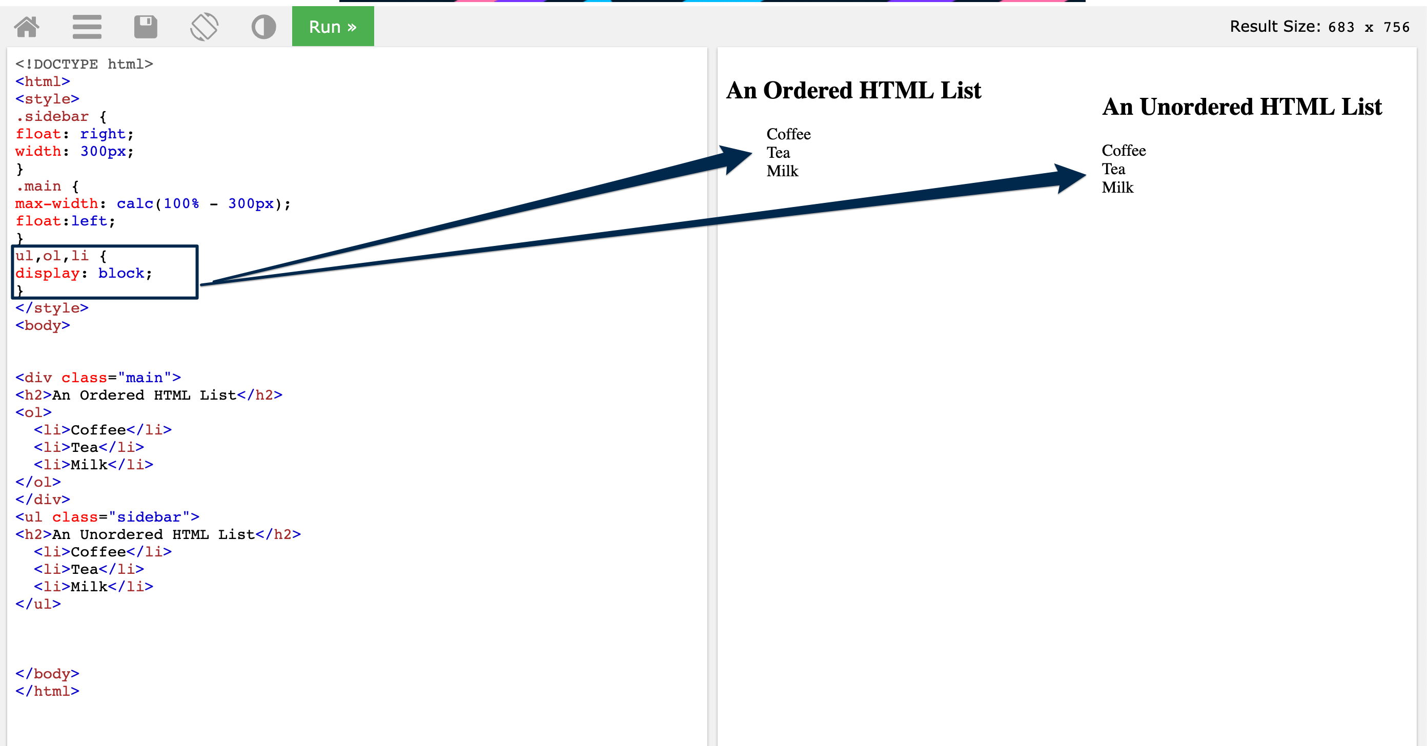 image of an html emulator in which the sidebar and main areas of an html document are formatted with ol and ul lists set to display block instead