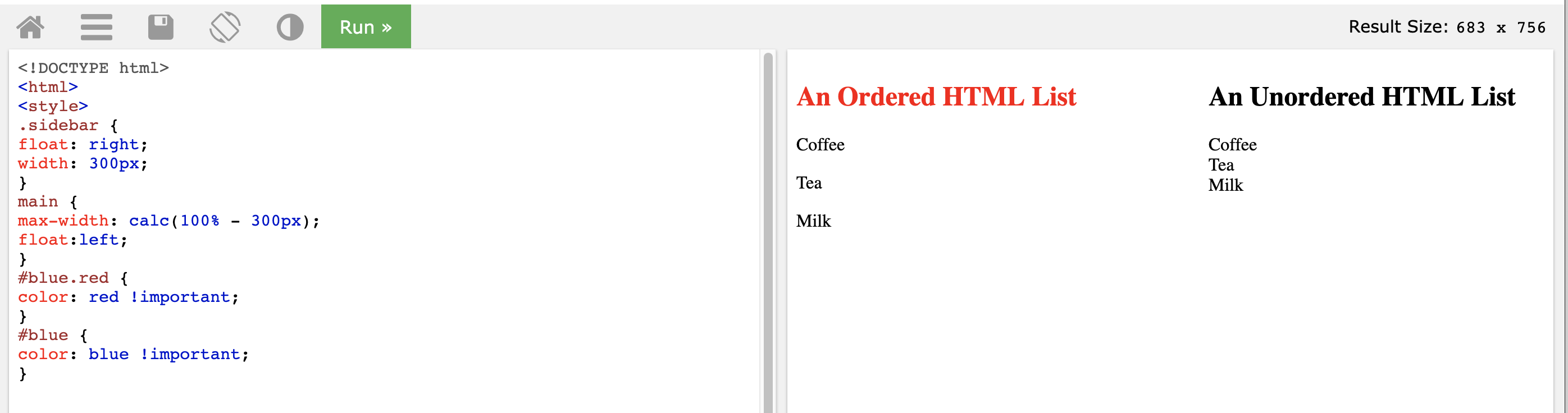 On the right the heading for 'an ordered html list' with a class of red and an id of blue is red and the heading for 'an unordered html list is black'. On the left the style #blue.red is set to color: red!important; the #blue style is set to blue !important;