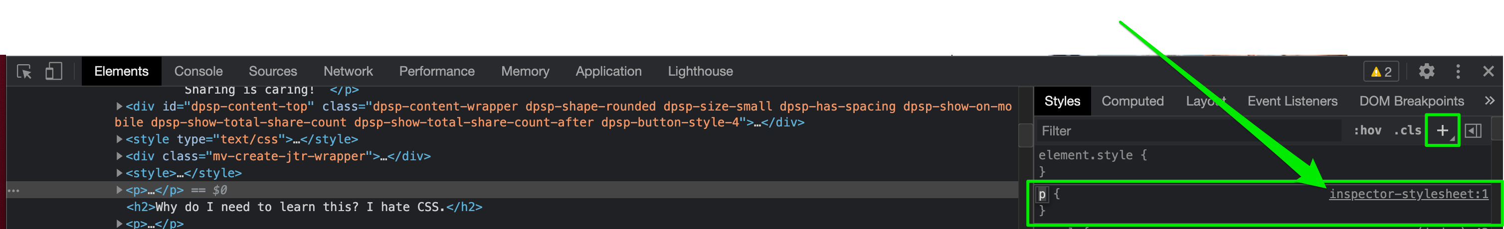 add a style in the browser dev tools