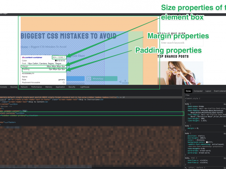 How to Navigate Dev Tools to fix CSS issues