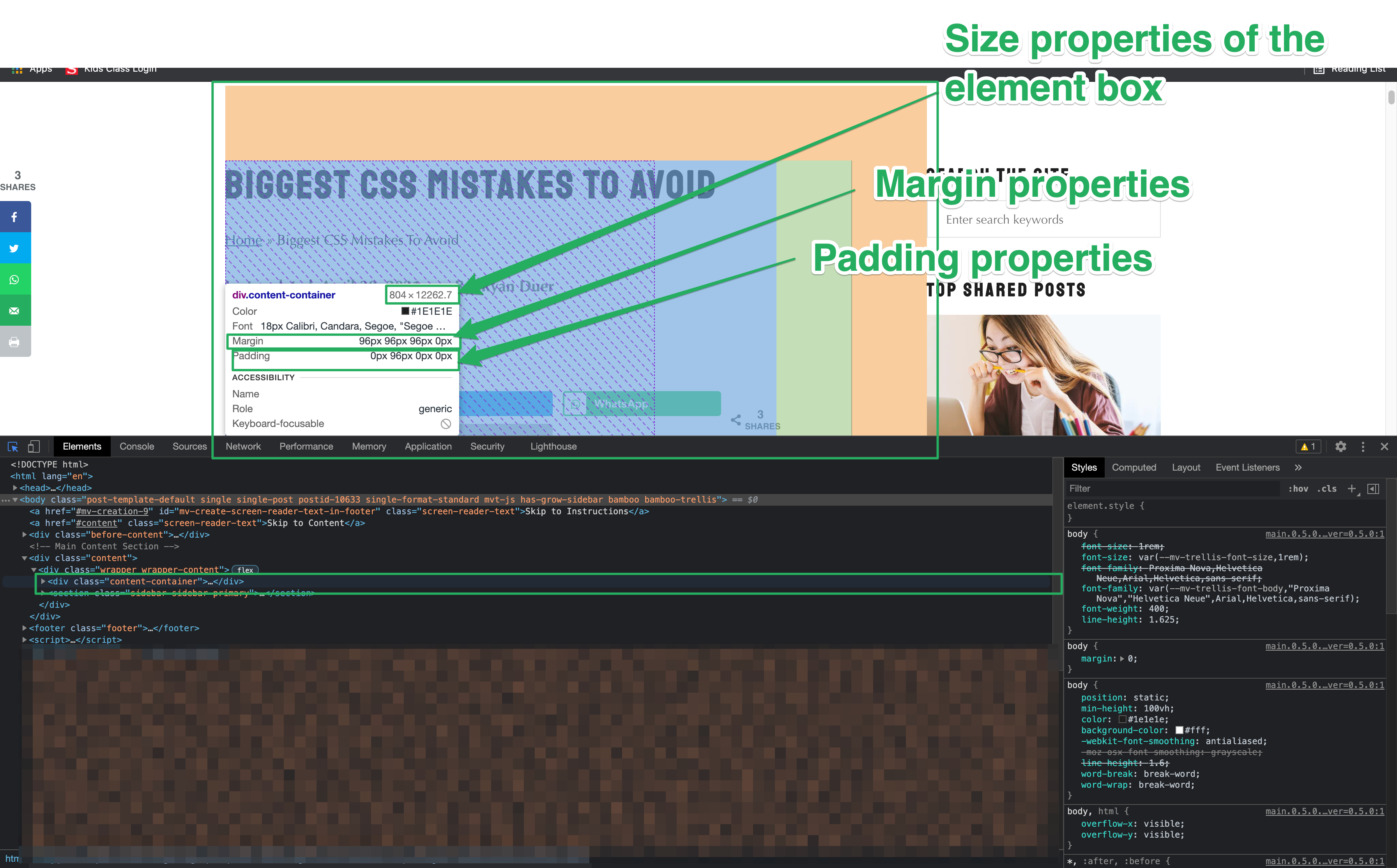 shows an element selected on the page and its margin, padding, and width & height properties