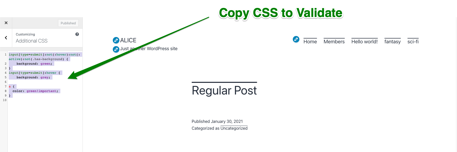 copy CSS with errors