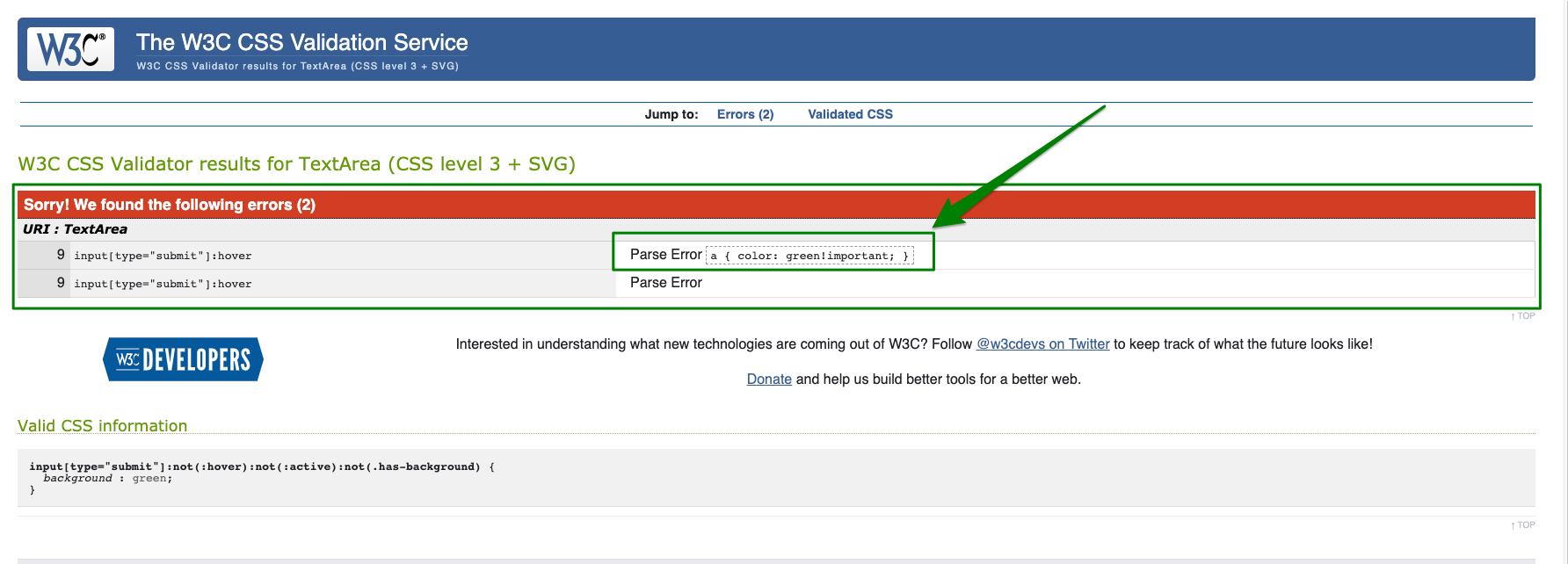 validator shows parse error elements