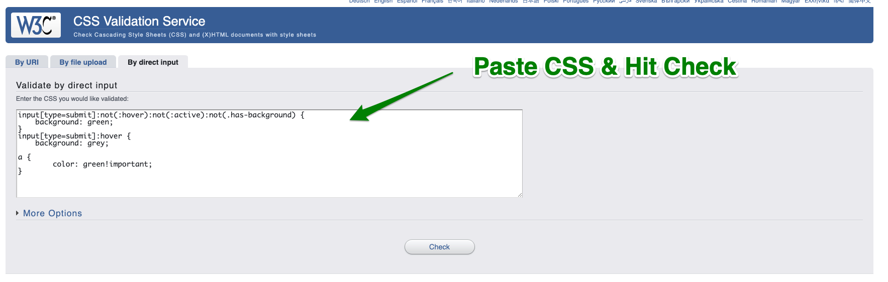 paste code into validator and hit check