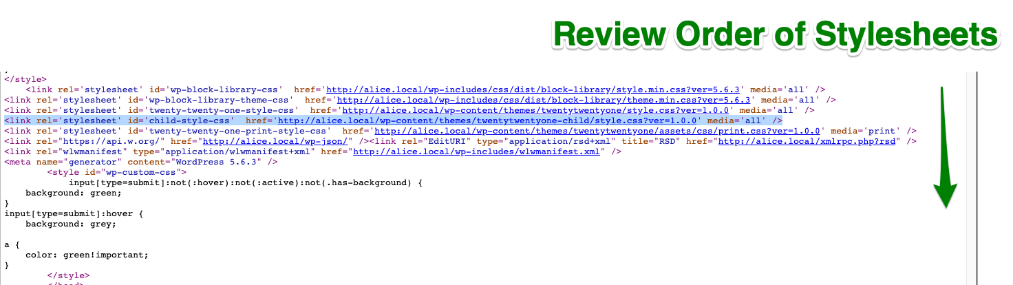 review the order of stylesheets in head tag