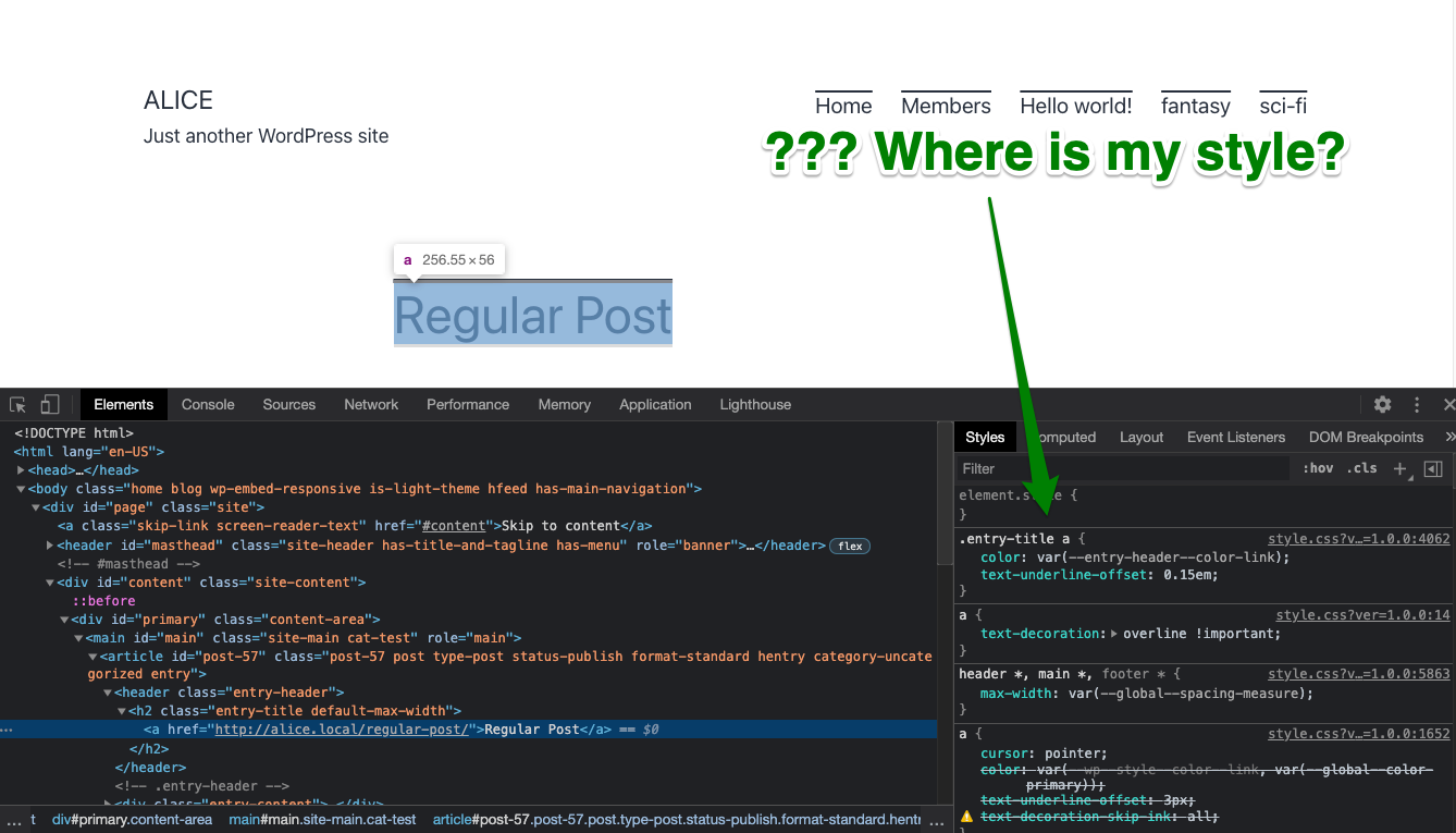 style isn't showing in dev tools