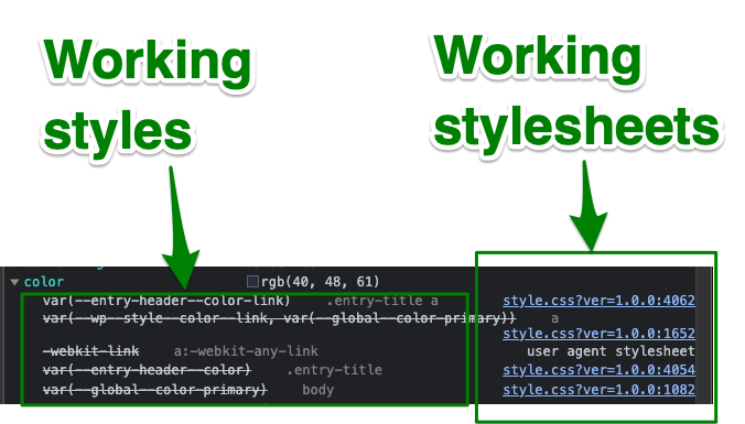 shows code that is working in dev tools for this style